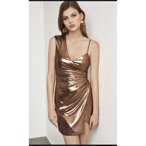 BCBGMAXAZRIA Metallic One Shoulder Shirred Dress L